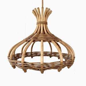 Lámpara de techo de bambú y ratán de Leola, años 70