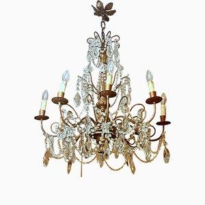 Lámpara de araña estilo Louis XVI vintage de cristal y haya, años 30