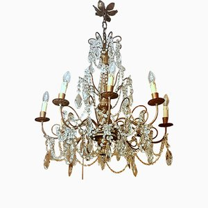 Vintage Louis XVI Style Beech and Crystal Chandelier, 1930s
