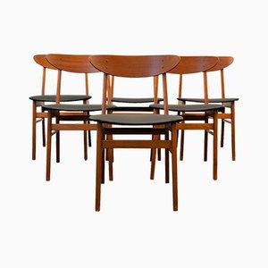 Sedie da pranzo in faggio e skai di Farstrup Møbler, Danimarca, anni '60, set di 6