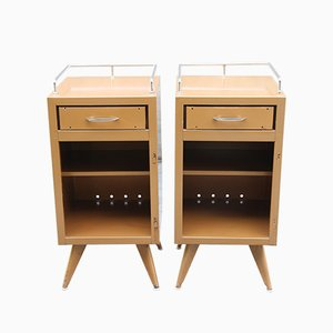 Mid-Century French Steel Nightstands, 1950s, Set of 2