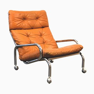 Swedish Chrome & Leather Lounge Chair with Wheels, 1960s
