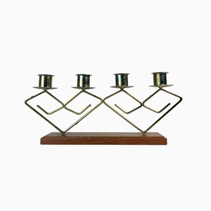 Mid-Century Copper and Teak Candleholder, 1960s