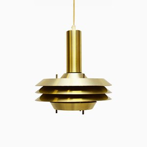 Mid-Century Danish Brass and Metal Ceiling Lamp, 1960s