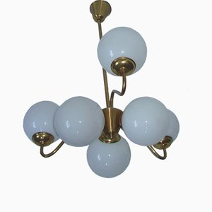 Modernist Brass and Glass Globe Ceiling Lamp, 1960s