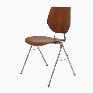 Mid-Century Beistellstuhl aus Stahl & Holz, 1950er
