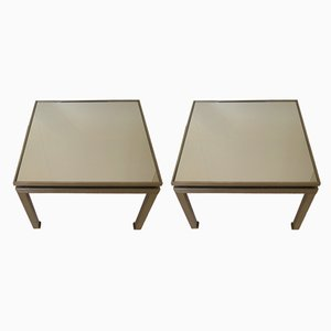 French Metal and Mirror Side Tables by Guy Lefevre, 1960s, Set of 2