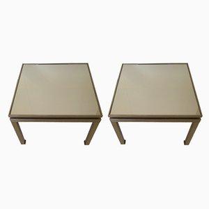 Tables d'Appoint en Métal et Miroir par Guy Lefevre, France, 1960s, Set de 2
