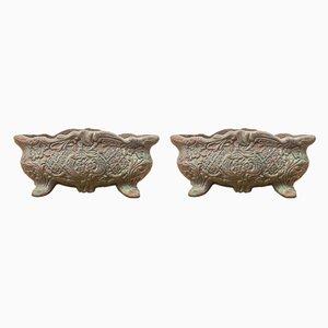 Jarrones italianos antiguos de hierro fundido. Juego de 2