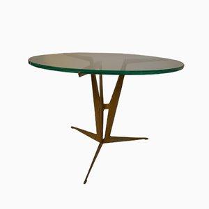 Moderner italienischer Beistelltisch aus Bronze & Glas, 1960er