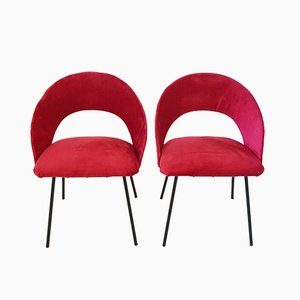 French Steel and Velour Side Chairs, 1950s, Set of 2