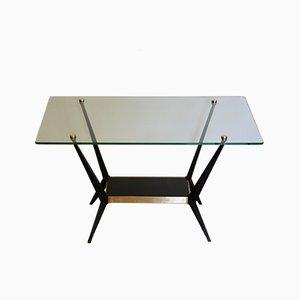Mesa auxiliar de acero, vidrio y latón de Angelo Ostuni, años 50