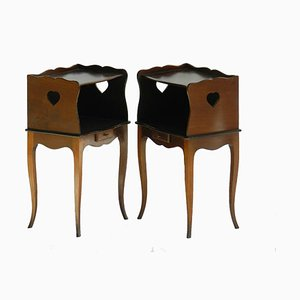 Antique Style French Teak Nightstands, 1950s, Set of 2