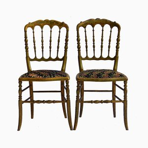 Antique Wooden Chiavari Side Chairs, Set of 2