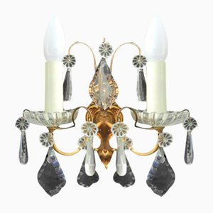 Mid-Century French Cut Glass Sconces, 1950s, Set of 2