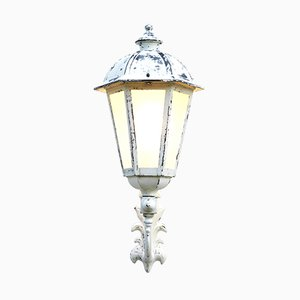 Vintage French Glass & Metal Outdoor Wall Lantern