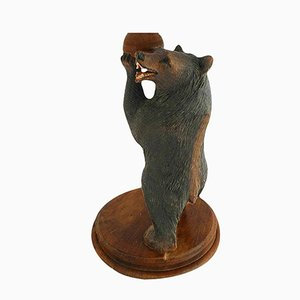 Vintage German Carbed Wooden Bear Table Lamp from Baccarat, 1920s