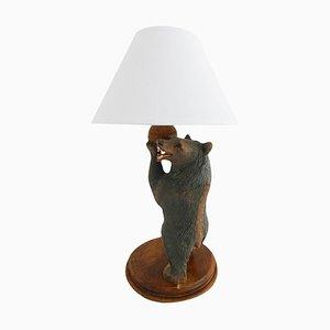 Deutsche Vintage Bärenlampe aus geschnitztem Holz, 1920er