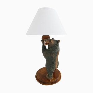 Vintage German Carved Wooden Bear Table Lamp, 1920s