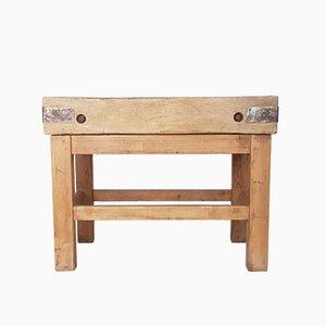 Mesa de trabajo rústica vintage de madera, años 30