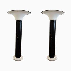 Chrome & Opaline Glass Floor Lamps, 1960s, Set of 2
