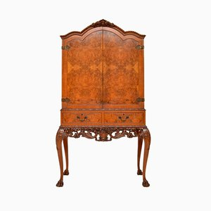 Queen Anne Style Burr Walnut Cocktail Cabinet