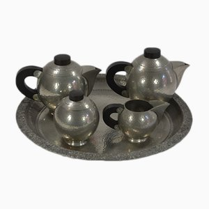 Art Deco Pewter Tea Set from R. Delavan, 1920s