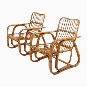 Mid-Century Italian Rattan and Cane Armchairs, 1950s, Set of 2