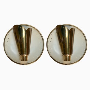 Mid-Century French Brass Sconces, 1950s, Set of 2