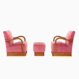 Italienische Mid-Century Sessel & Pouf mit Gestell aus Holz & Samtbezug, 1940er, 2er Set