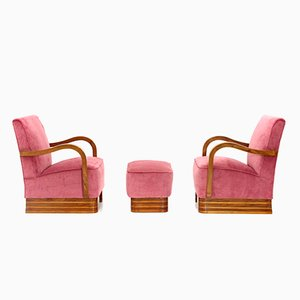 Mid-Century Italian Wood and Velvet Armchairs and Pouf, 1940s, Set of 2