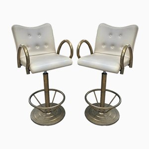 Industrial Brass & Leatherette Casino Swivel Chairs, 1970s, Set of 2