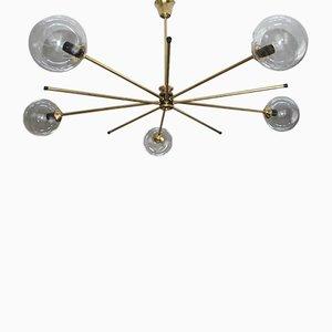 Lámpara de techo italiana moderna de latón y vidrio, años 60