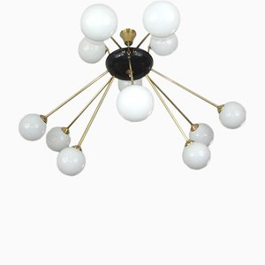 Italian Modern Brass and Glass Ceiling Lamp, 1960s