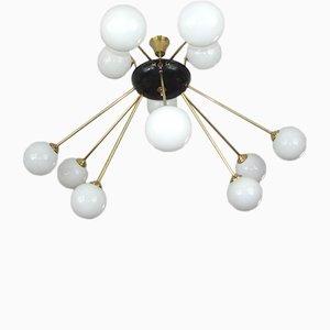 Moderne italienische Deckenlampe aus Messing & Glas, 1960er