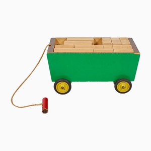 Wooden Toy Cart by Ko Verzuu for Ado Holland, 1940s