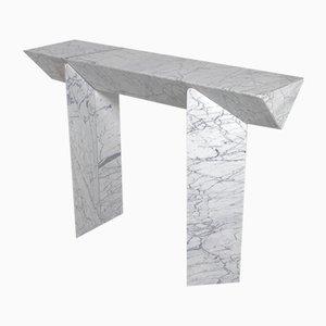 Italian Calacatta Marble Console Table by Giulio Lazzotti, 1970s