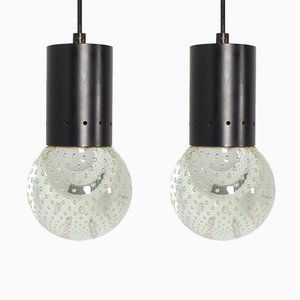 Lámparas de techo italianas con burbuja de cristal de Murano de Gino Sarfatti para Seguso, años 50. Juego de 2