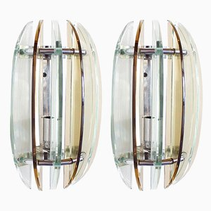 Italian Chrome & Smoked Glass Sconces from Veca, 1970s, Set of 2