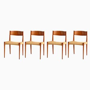 Danish Teak and Wicker Dining Chairs, 1960s, Set of 4