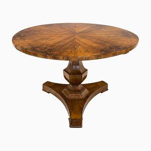 Tavolo da pranzo rotondo Biedermeier antico in legno di noce