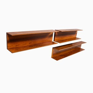 Rosewood Wall Shelves by Walter Wirz for Wilhelm Renz, 1960s, Set of 3