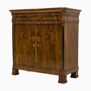 Cassettiera Biedermeier antica in legno di noce