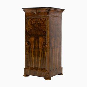 Comodino Biedermeier antico in legno di noce, Francia
