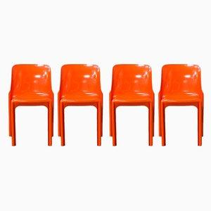 Orange Selene Chairs by Vico Magistretti for Artemide, 1969, Set of 4