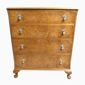 Vintage Burr Walnut Chest of Drawers, 1920s
