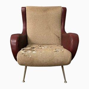 Roter italienischer Senior Sessel von Marco Zanuso für Arflex, 1950er
