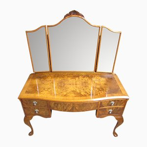 Vintage Burr Walnut Dressing Table, 1920s