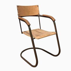 Stuhl mit Röhrengestell aus Kupfer & Holz von Paul Schuitema, 1930er