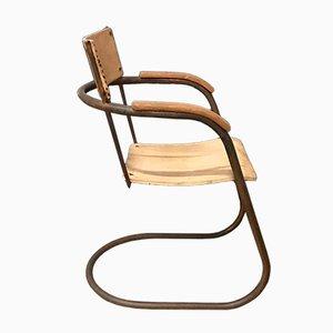 Sedia tubolare in rame e legno di Paul Schuitema, anni '30
